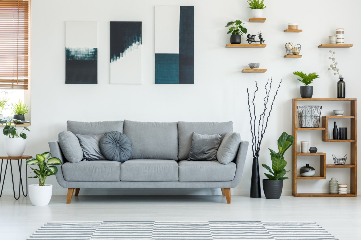living room with grey couch