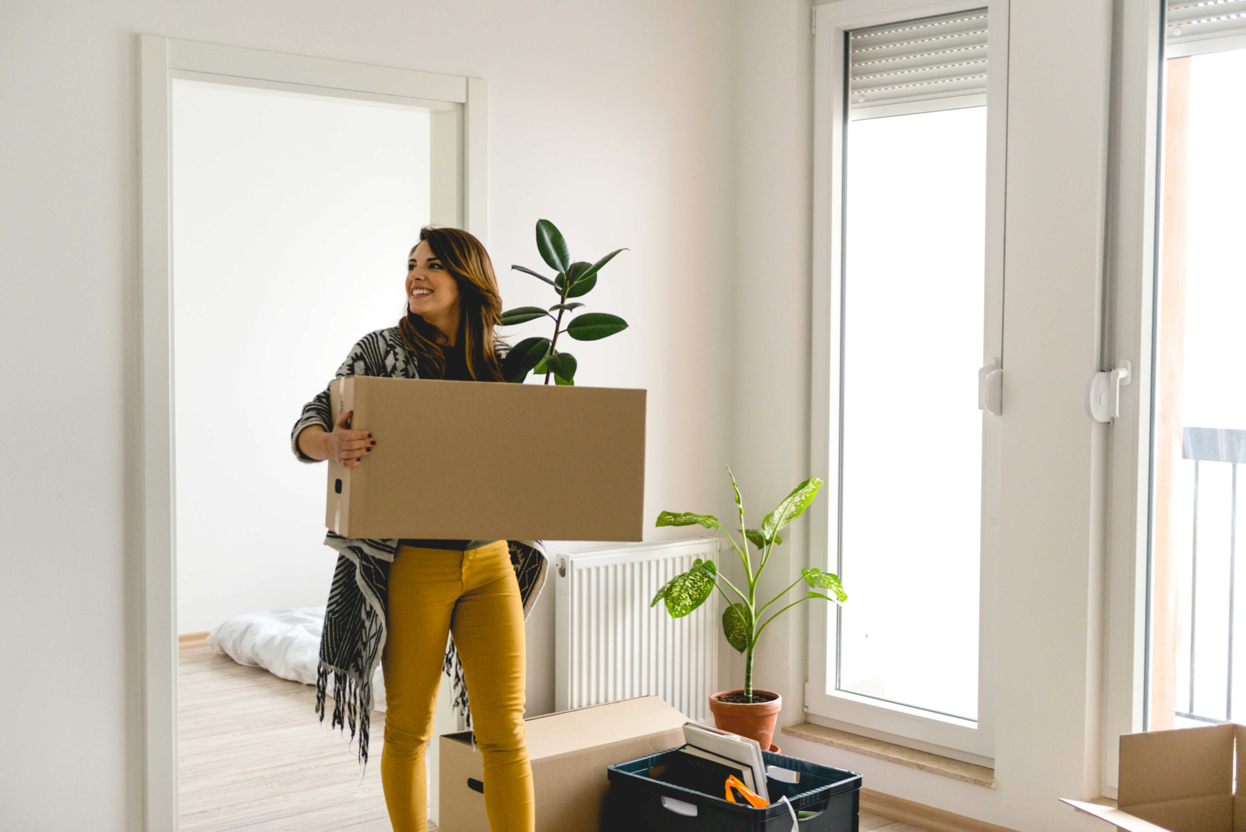 moving into apartment with box